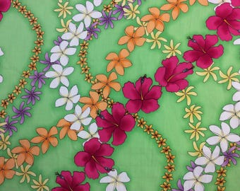 Tropical Cotton Hawaiian Print  in lime Green (Yardage Available)