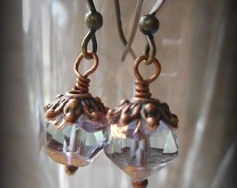 Pierced Drop Earrings Faceted Czech Crystals in Gold or Copper Bohemian Boho