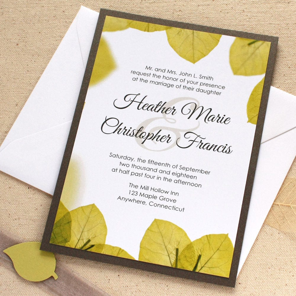 Green Leaf Wedding Invitation Leaf Border Green Wedding