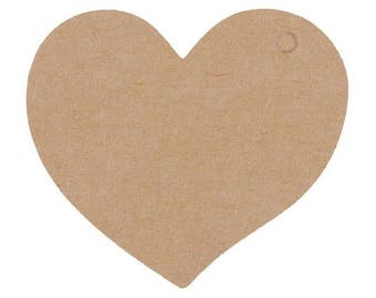 Set of 10 heart kraft cardboard gift mark up natural beige