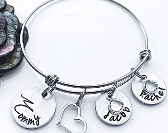 Personalized Mommy Bracelet, Mothers Day Gift, Mothers Jewelry, Jewelry for Mom, Mom Charm Bracelet, Gifts for Her, Grandma Bracelet
