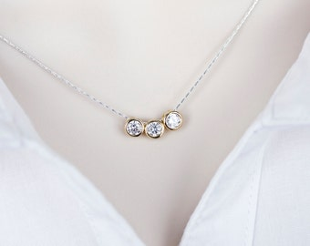 Cubic Zirconia Necklace, Gold Plated Triple CZ Solitaire Drop Necklace, Gold and Sterling Silver CZ Necklace, Modern Everyday Jewelry