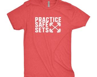 Practice Safe Sets Tee - Weightlifting Tee - Gym Shirt - Workout Shirt - Funny Gym Shirt - Fitness Shirt - Gym Tshirt - Workout Tee