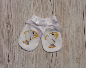 """Beauty and the beast inspired """"Chip"""" Baby Scratch Mitts with white  bow"""