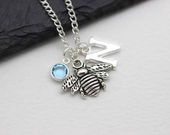 Personalised Bee Necklace, Bumblebee Gift, Honey Bee Necklace, Initital Necklace, Charm Necklace, Swarovski Crystal