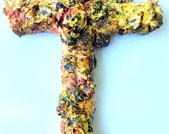 handmade wood and plaster cross, painted wall art, wall collage, yellow, red, green