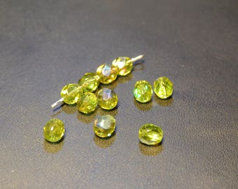 20 oval Czech glass faceted green olive iridescent, 6 mm beads