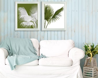 Green wall art - Set 2 prints contrasting palms green and white - tropical print tropical decor beach house art print contemporary wall art