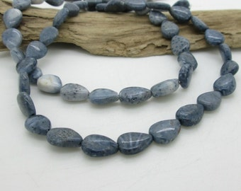 Blue Fossil Coral Teardrop Bead, Small Tear Drop, Blue Teardrop, Fossil Coral Teardrop, 12x8mm (8)