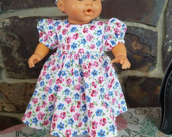 Dress and Headband for 14 inch, 15 inch and 16 inch baby doll/ 15 inch Bitty Baby/ Waldorf/ Corolle/ Gotz/ Bamboletta