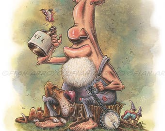 """HILLBILLY Moonshine FANTASY, Pop Surrealism, Lowbrow Signed Titled Fine Art PRINT 11""""x14""""-""""Cleetus & The Fairy"""" by Fian Arroyo-Unframed"""