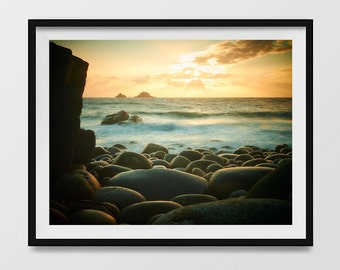 Instant Digital Download, Seascape Sunset in Cornwall Fine Art photograph, also available as a print. Downloadable images