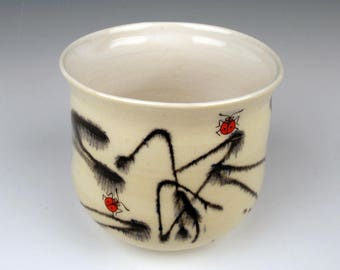coffee cup, tea cup, whisky cup, ladybugs, funky cup, handmade pottery