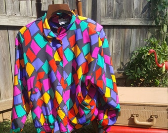 80s Lilli Ann Multi Color Print Quilted Jacket