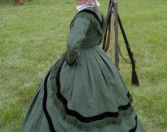 FOR ORDERS ONLY - Custom Made for You - 1800s Victorian Gown 1860s Civil War Day Dress 1864 Bodice Skirt