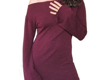 Sweet and Simple Burgundy Pullover Dress - One Shoulder, 80's Elegance, Bell Sleeves, Burgandy Wine Red