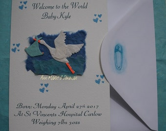 Beautiful handmade personalized baby boy card, for that very special new arrival