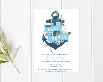 Baby Shower Invitation, Blue Baby Shower Invitation, Boy Baby Shower Invitation, Nautical Baby Shower Invitation, Anchor Baby Shower [237]