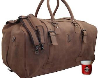 Travel bag CHARLEMAGNE of brown leather - BARON of MALTZAHN
