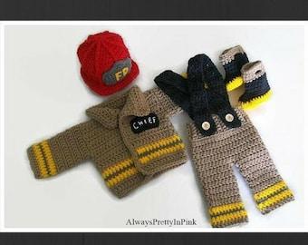 Baby Prop Costume, Fireman Costume, Baby Boy Clothes, Baby Costume, Baby Clothes, Crochet Baby, Fireman Hat, Fireman Pants