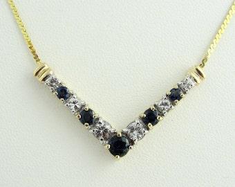 Vintage Sapphire And Aquamarine V Pendant Necklace- 14k Yellow Gold
