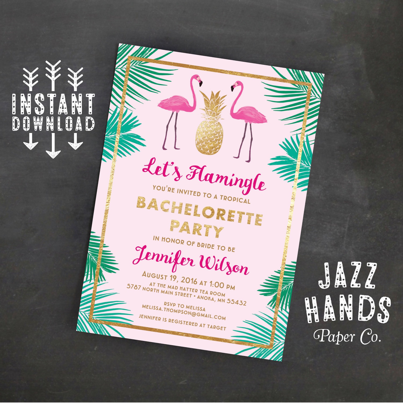 Letu0027s Flamingle Printable Bachelorette Invitation Template   Flamingo  Invitation   Bachelorette   Flamingos   Pineapple   Palms   Invites