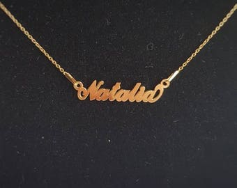 Personalised name NATALIA necklace .925 sterling silver 24k gold plated