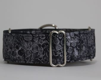"""Greyhound Grey and Silver 1.5"""" Martingale Collar **New Sizing**"""