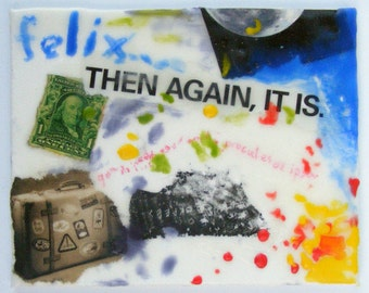 Felix - Original Encaustic Collage -Time Traveler Series