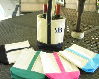 Canvas Wine Tote Bag -  Monogram or  Personalized with embroidery
