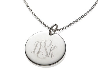 Monogram Necklace, Engraved Jewelry, 925 Sterling Silver