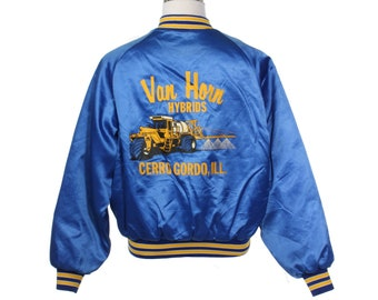 Van Horn blue coach varsity jacket, cool back print with agricultural machinery, great condition sz L