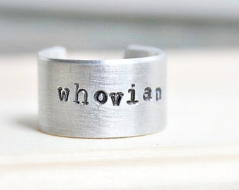 Whovian, aluminum, adjustable ring, mens ring, womens ring, unisex, doctor who ring, Doctor who jewelry, wide band ring