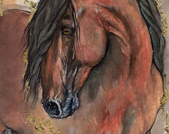original gilded pen and watercolour painting of andalusian horse