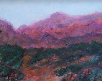 Desert Wash. Original 8x10 impressionist landscape painting by Charlie Stone. Colorado art. Southwest. Framed. Ready to hang. Free shipping.