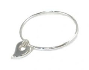 Sterling Silver Solid Slave Bangle with Heart Charm
