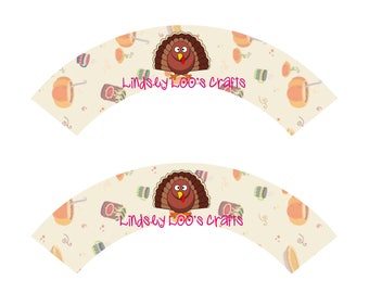Thanksgiving Dinner Cupcake Wrappers, Thanksgiving Cupcake Wrappers, Turkey Cupcake Wrappers