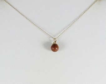 14k Yellow Gold Goldstone Necklace 20 inch chain