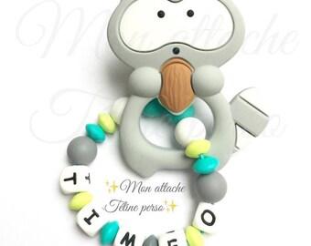 "Custom silicone teething rattle ~ gray raccoon ""Timéo"" model"
