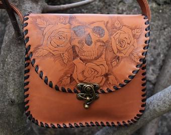 Brown leather shoulder bag. Satchel hand laced skull. Skull pattern bag. leather shoulder bag. skull Messenger bag