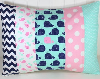 Pillow Cover, Nursery Decor, Cushion Cover, Whale, Throw Pillows, Decorative Pillows, 12 x 16, Nautical, Pink, Mint, Navy, White, Baby Girl