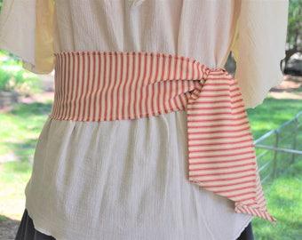 Striped Pirate Sash. Pirate Sash. Red Striped Sash. Blue Striped Sash. Short Striped Ticking Sash with Red or Blue Stripes.