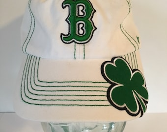 7ef9b658bbb52 ... where to buy vintage quality 47 brand white with green adult hat cap boston  red sox