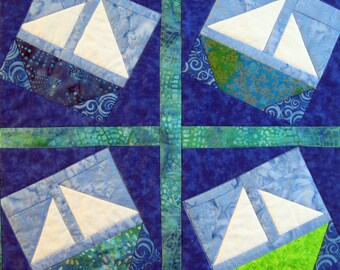 Quilted Sailboat Wall Hanging by Made Marion