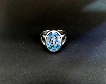 Mossaic Opal Ring/ Sterling Silver Original Mossaic Opal Ring
