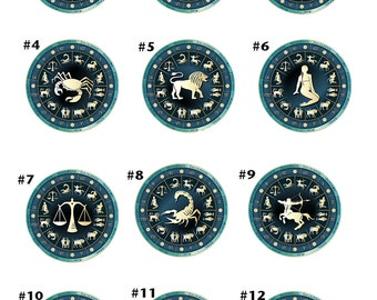Zodiac Sign Cancer Photo Glass / Bottle Cap Retractable ID Badge Reel, Gemini Nurse Badge Reel, 12 Designs to choose from
