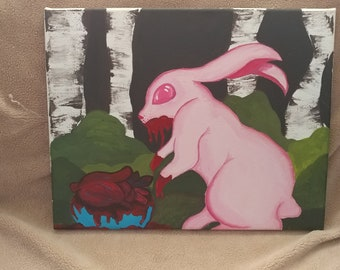 Bunny has your Heart. Acrylic painting on stretched canvas.