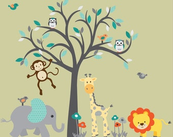 Boy Jungle Animal wall decal, giraffe decal, Tree Decal, Safari Animal Wall Decal, Nursery Wall Decal, Wall Sticker, Noah Design
