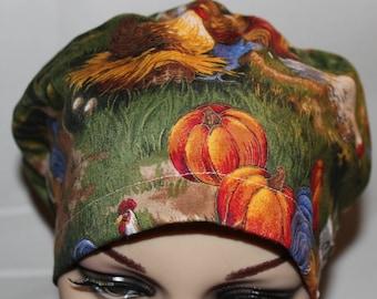 Women Surgical Cap, Chemo Cap, Scrub Hat,  Chickens in the Autumn