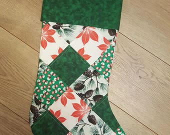 Green Checkered Christmas Stocking